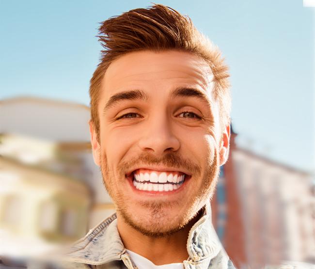 happy boy with white teeth