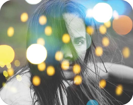 lights overlay on an image of a black hair girl