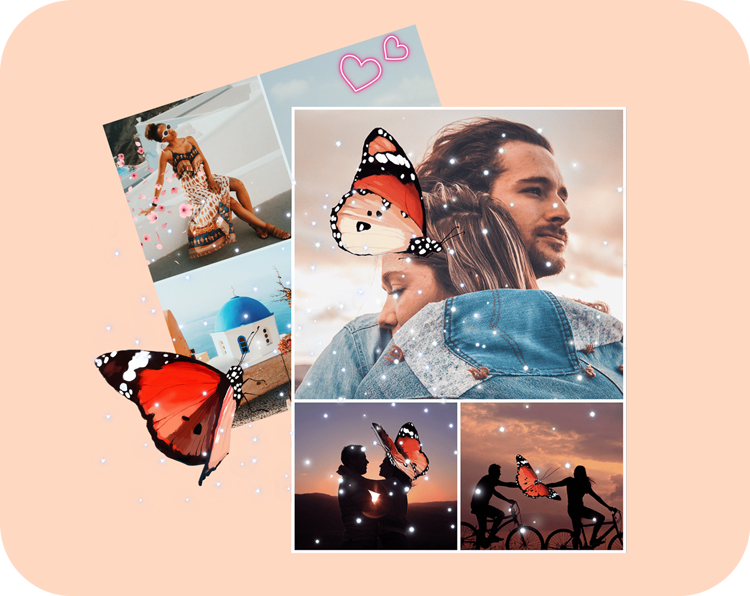 photo collages of couples with butterfly stickers