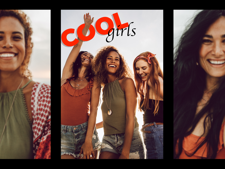 happy summer girls photo collage with cool girls text