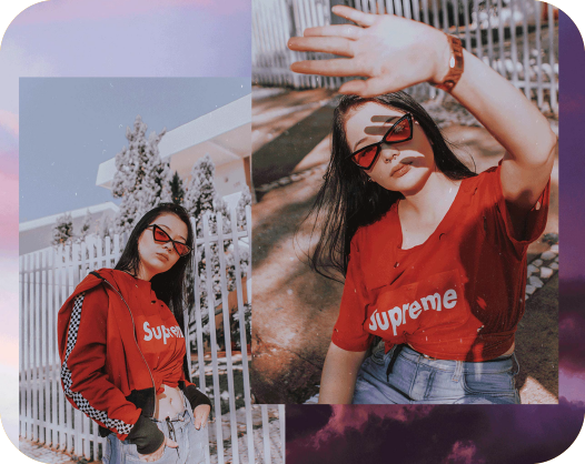 photo collage template of a black hair girl posing with a red shirt and modern sunglasses
