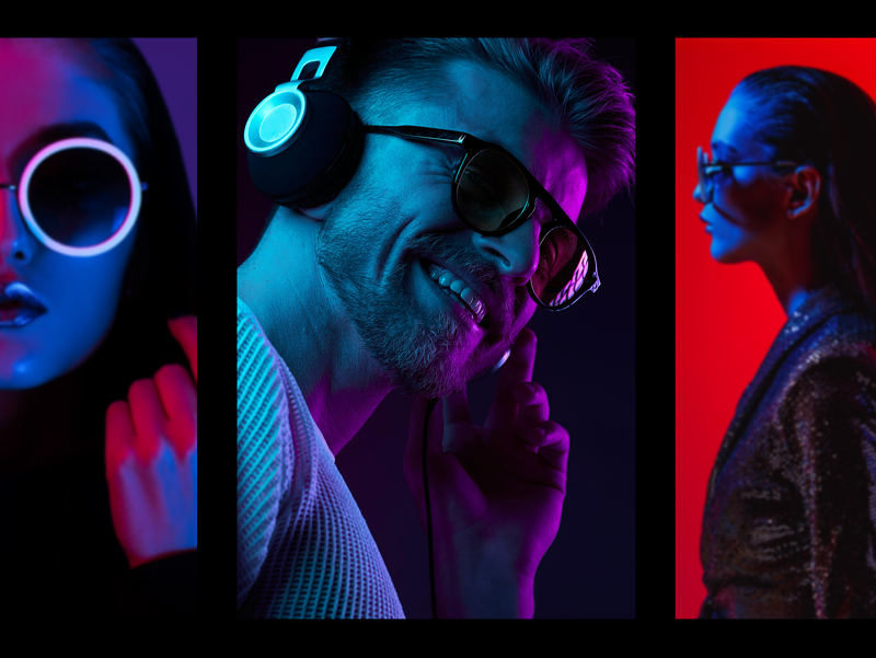 dj style photo collage with disco lights