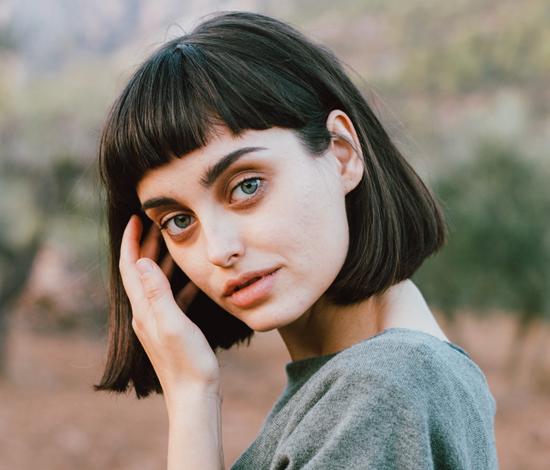 short hair green eyed girl image
