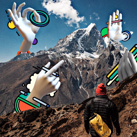 Mountains photo edit with hand stickers
